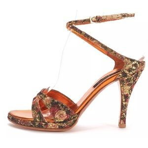 Sergio Rossi Shoes - Sergio Rossi pink gold brocade ankle wrap heels 7