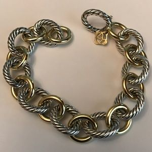 David Yurman Jewelry - David Yurman Large oval Link bracelet with gold