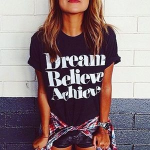 Brandy Melville Tops - Dream Believe Achieve Tee
