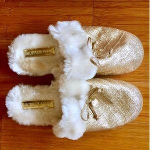 Michael Kors Shoes - Michael Kors gold fur slippers