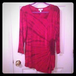 Dress Barn Tops - Dress barn asymmetrical tie dye cluster shirt