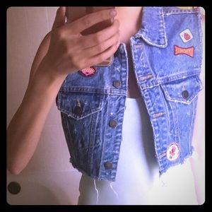 Paris Blues Jackets & Blazers - Paris Blues cropped + distressed jean vest