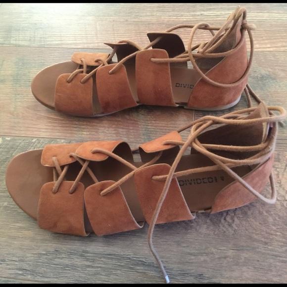 d14cd00fb65f H M Divided Cognac Tan Gladiator Sandals