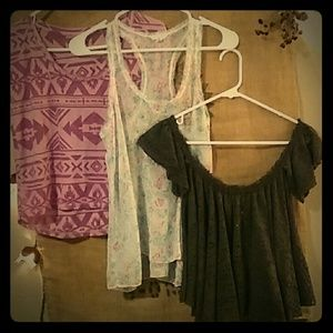 Free People Tops - 3 Small Sweet Crops and Sheer Shirts Free People