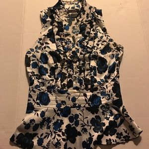 My Michelle Tops - Fitted Shirt, Accents Waistline, Ruffled Front