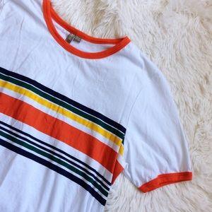 ASOS Tops - ASOS white+orange multicolored striped tee
