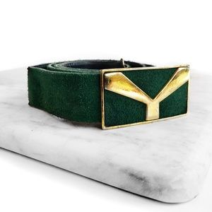 Yves Saint Laurent Accessories - Vintage Ysl green suede belt