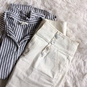 ANTHROPOLOGIE white denim distressed hem skirt