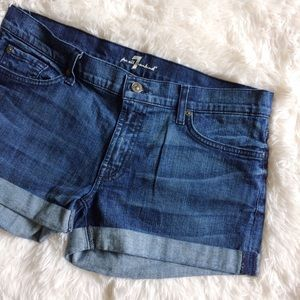 7 For All Mankind Pants - 7 FOR ALL MANKIND cuffed blue jean shorts
