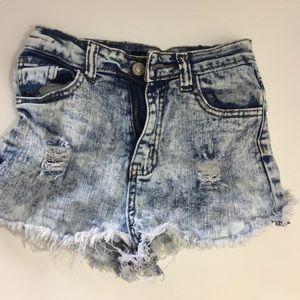 gogo star Pants - GOGO Star Acid wash ripped shorts