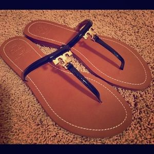 Tory Burch Shoes - Tory Burch T Logo Flat Thong-Patent Saffiano 9M