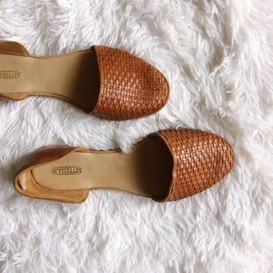 Saychelles Shoes - SAYCHELLES tan d'Orsay weaved flats