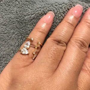 Crystal Pear Shaped Adjustable Fashion Ring JW-125