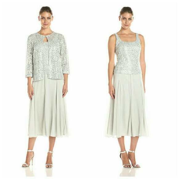 Alex Evenings Womens Petite Lace Bodice Dress and Matching Jacket Taupe 6P