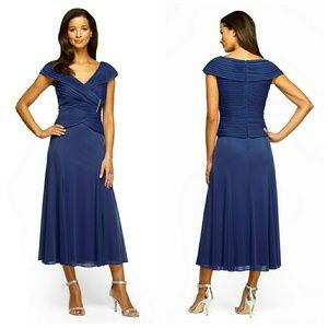 Alex Evenings Dresses & Skirts - Alex Evenings Rhinestone Brooch Midi Blue Dress