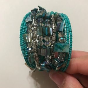 NuBella Jewelry - Mermaid Turquoise Beaded Cuff Bracelet [JW-119]