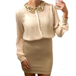 Mustard Seed Dresses & Skirts - Mustard Seed Beige Sequin Collar Bodycon Dress