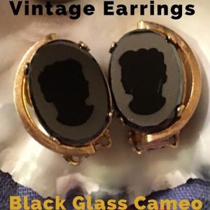 Vintage CAMEO Clip-On Earrings  Black Glass Gold