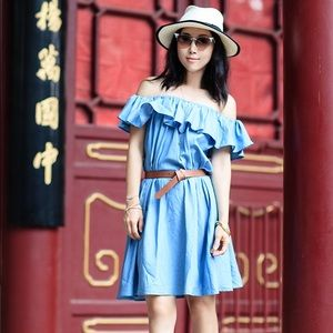 CHICWISH off the shoulder denim dress