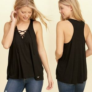 Hollister Tops - Black Lace-Up Flowy Loose Tank NWOT