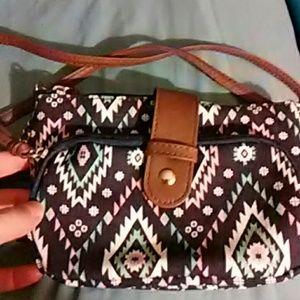 No Boundaries Handbags - No Boundaries Blue Aztec Print Cross Body Bag