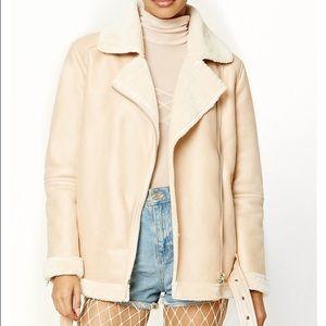 sale Faux suede Moto jacket pink