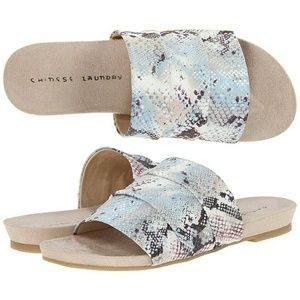Chinese Laundry Shoes - Iridescent Pastel Snake Slide Sandals NIB