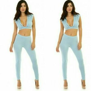 Pants - Sexy Powder Blue Crop Top Stretch Pant Set
