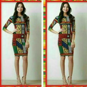 Dresses & Skirts - Greek Aztec Print Bodycon Mini Dress NEW
