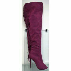 Shoes - Thigh high suede berry fringe open toe boots