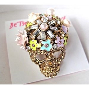 Betsey Johnson Jewelry - Betsey Johnson Floral Pave Skull Ring