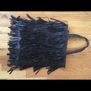 Zara leather fringe tote bag