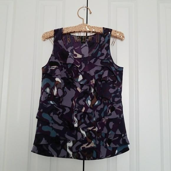 Ann Taylor Tops - Ann Taylor Purple Ruffle Front Sleeveless Blouse