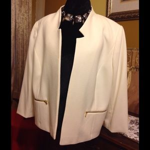 Tahari Woman Jackets & Blazers - Waist length White linen jacket