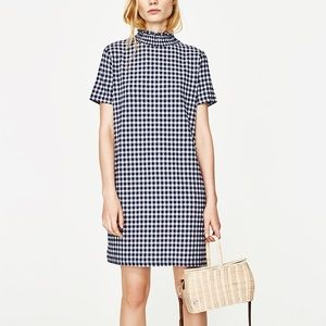 Zara checked mini dress with gathered neckline