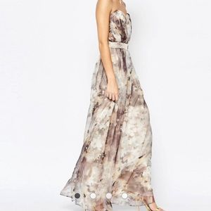 Little Mistress Dresses & Skirts - Strapless low cut floral Maxi