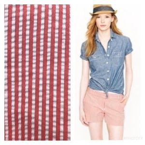 J. Crew Factory Pants - Coral & White City Fit Seersucker Shorts