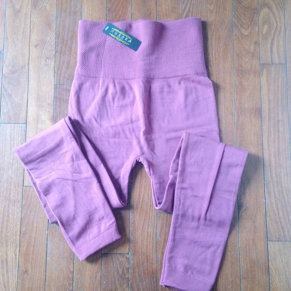Aurora Seven Pants - High waisted Mauve fleece line leggings