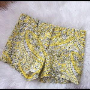 J. Crew Pants - J.Crew yellow Paisley shorts size 2