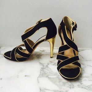 Diane von Furstenberg Shoes - DVF black suede with gold trim heels. NEVER WORN!