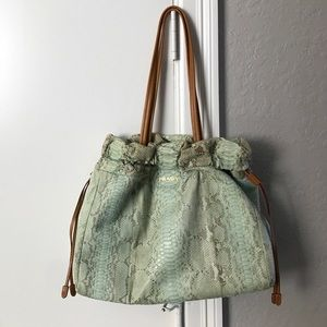 Prada Handbags - PRADA mint green snakeskin bag