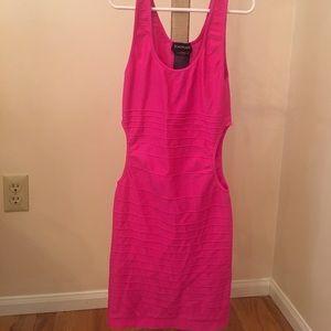 Bebe Hot pink cut out sexy dress