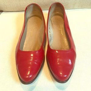 Ferragamo Shoes - Auth Ferragamo red patent flats 8.5 M