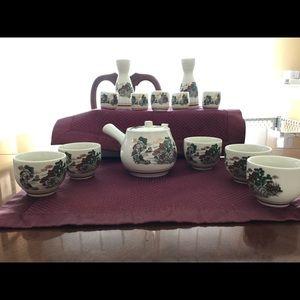 Japanese Weekend Other - White ceramic ware floral tea set / 7 PC Sake Set