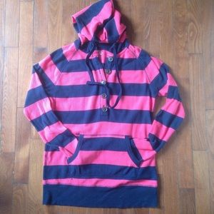 Blue and pink ribbed lightweight hoodie