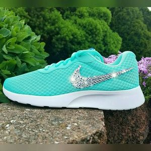Nike Shoes - Nike Swarovski Bling Tanjun Roshe, Hyper Turquoise