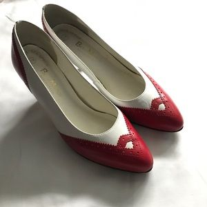 Beau Monde Shoes - Beau Monde vintage red &white wingtip oxford heels