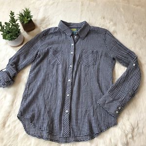 C&C California Tops - C&C California navy & white plaid button up
