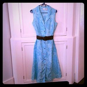 Jaclyn Smith Dresses & Skirts - Aqua Blue Maxi Dress Tropical Print