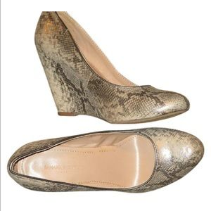 New Banana Republic Animal Print  metallic Wedge 7
